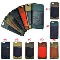 Wholesale cheap genuine leather cell phone case for iphone 6 , With Card Slot
