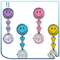 Wholesale colorful gift quartz silicone smile face pocket watch