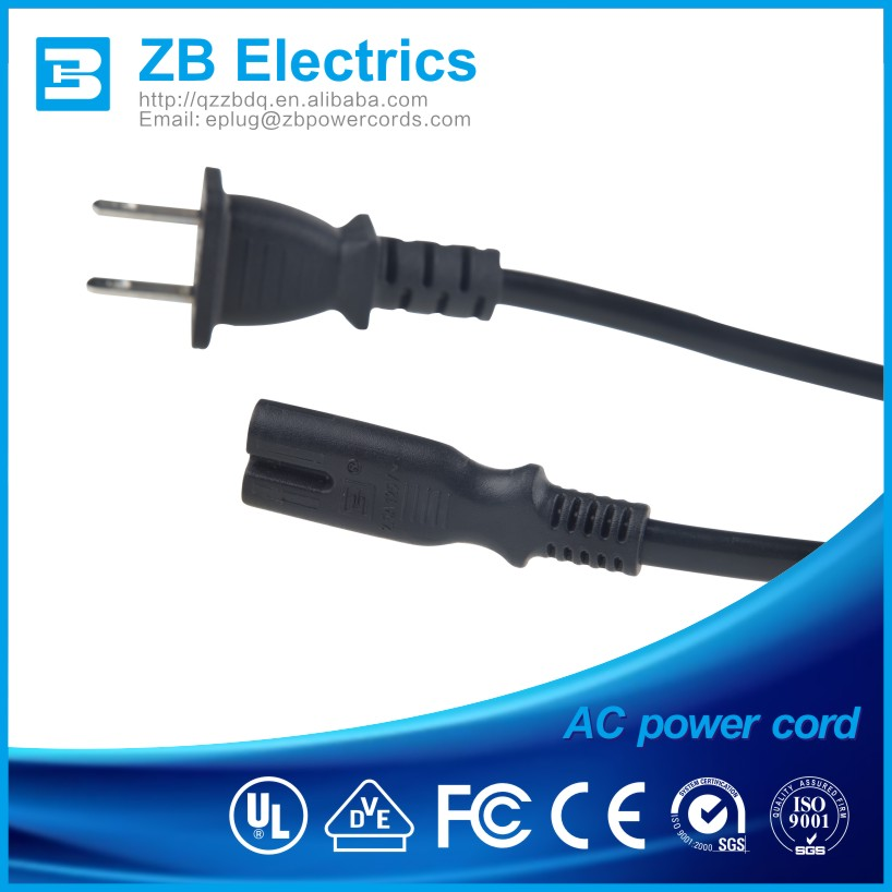 Taiwan approved 2 pin power cords electric cable IEC connectors