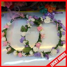 pink and light purple wedding decorative flower girl hair wreath