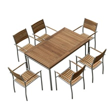 High quality outside garden <strong>furniture</strong> general use 304 stainless steel teak wood slats 7 piece patio dining set (D571/S271)