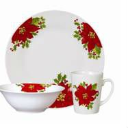 CHRISTMAS HOLIDAY NOBEL POINSETTIAS RED DINNERWARE SET