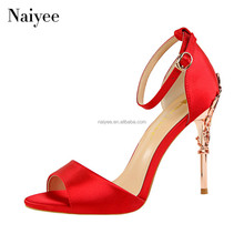 Wholesale Low Price High Heel Lace Up Ladies Sandals Peep Toe Woman Shoes 2018