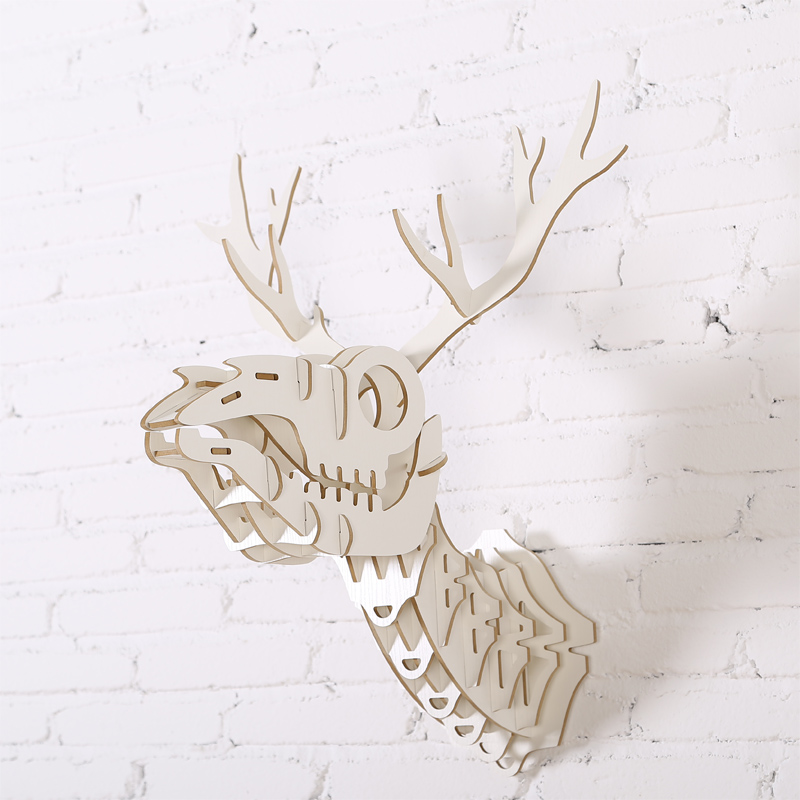 57.5cm creative gift deer skeleton head home animal Decoration Crafts Carved DIY Wooden 3D Wall Hanging wood carving Wood Crafts