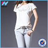 Yihao 2015 Summer New Style Ladies Black Embroidered Short Sleeve Tops Fashion Casual Blouses For Women