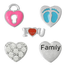 "Heart & Heart Lock Silver Tone Enamel Red Fuchsia Blue ""Family"" & Baby Feet Carved Clear Rhinestone,10PCs,8seasons"
