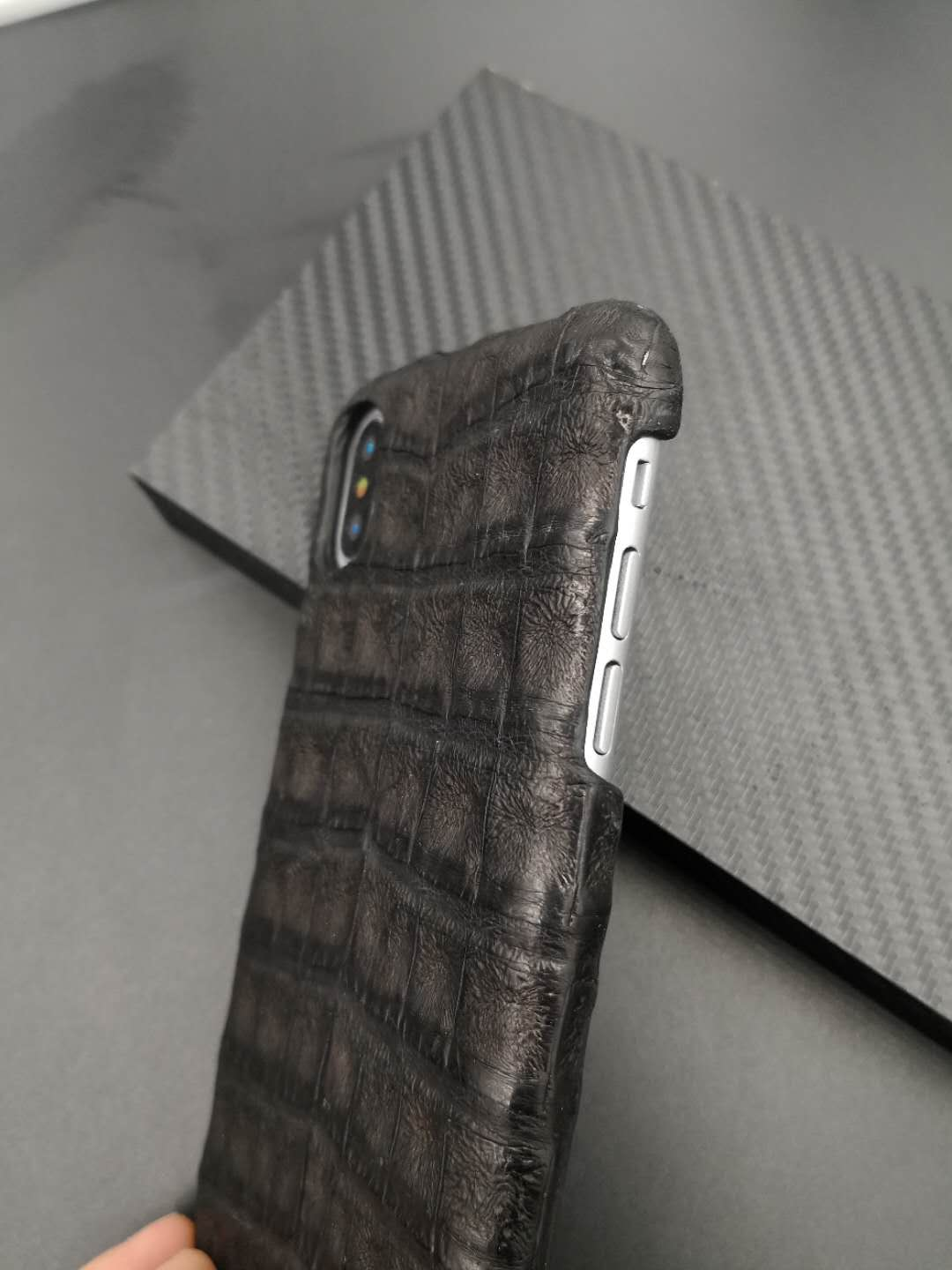 Jranter Luxury Genuine Caiman Crocodile Hornback skin Phone Case