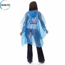 Outdoor essential PE eco-friendly disposable rain poncho raincoat with logo printing