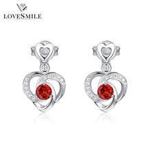 Factory wholesale cheap fashion s925 jewelry zircon garnet nature gemstone earring for lover