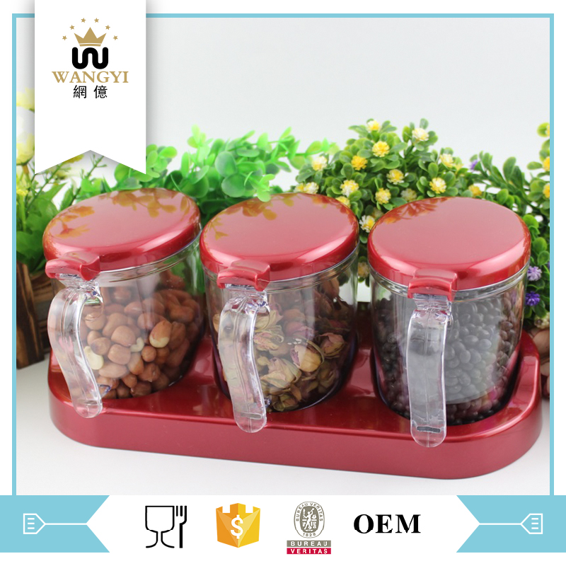 Oval empty clear jar wholesale plastic spice containers for kitchen
