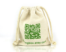 drawstring jewelry pouch cotton 100% muslin cotton bag printed logo on pouch