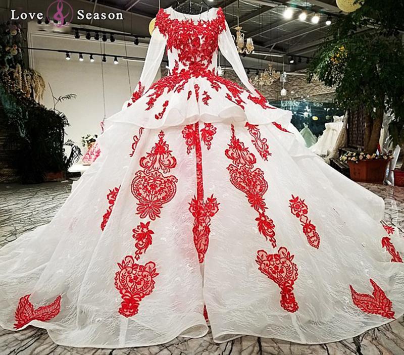 Venta al por mayor vestido de fiesta rojo con mangas-Compre online ...