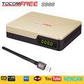 Satellite TV Receiver TocomFree S989 + Single LNB + USB WiFi + AV Cable Digital TV Box with Free IKS SKS IPTV for South America