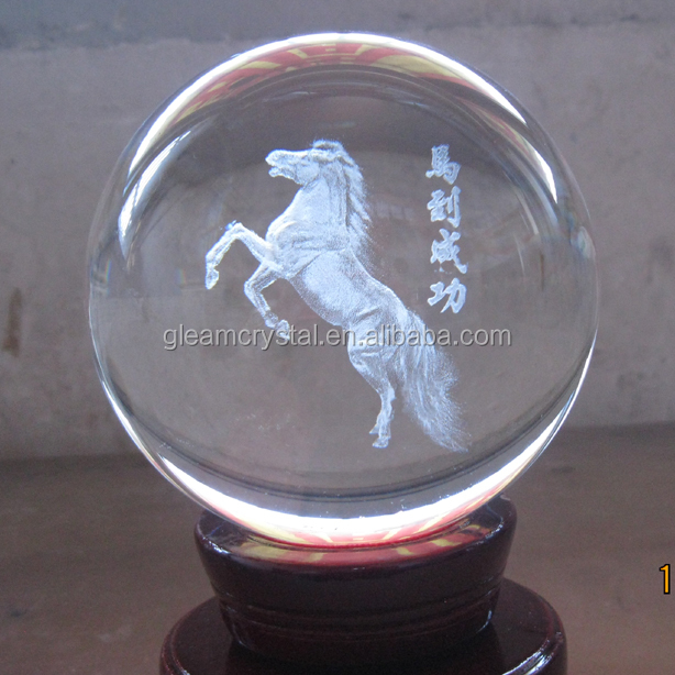 High Quality Customize Pure Natural 3D laser engraved Crystal Glass Ball ZB-G105