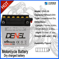 3 Three Wheel Moto parts/12V 5AH Dry-charged battery for motorcycle with high qualityYB5L-B/Electrical Equipment&supplies