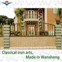 2016 European wroght iron villa fence design/wall fence designs
