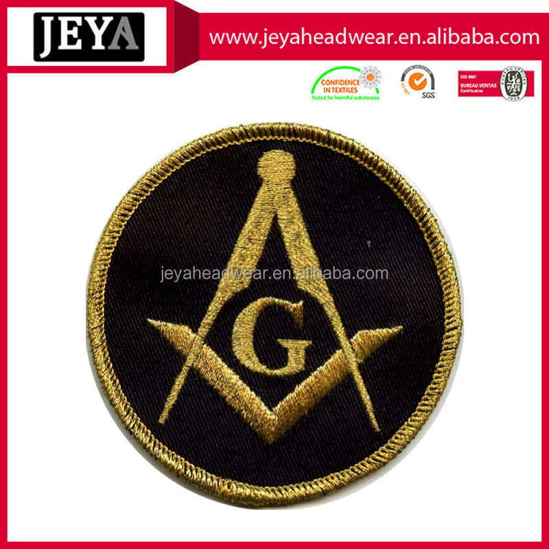 Golden round black embroidery patch sew on cotton fabric , custom embroidered letters and numbers