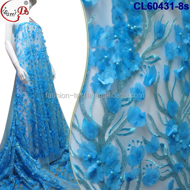 raw material CL60431-8 hot sale wedding white 3d lace chowleedee popular evening party polyester lace fabric with beads