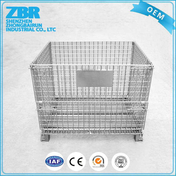 Folded wire cage/stackable container/steel crate