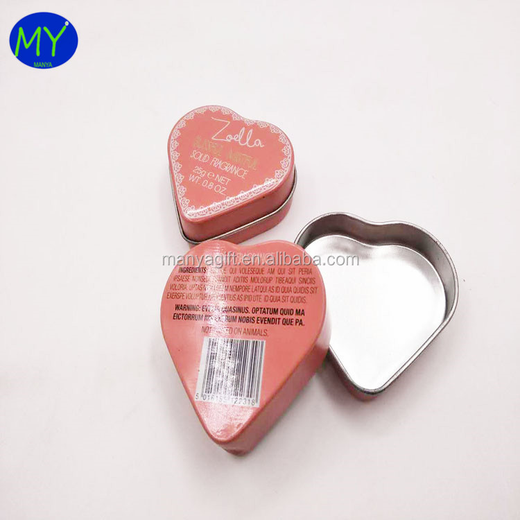 Factory direct sale personal care product tins mascara packing boxes heart shape hand cream gift tin box package for promotion