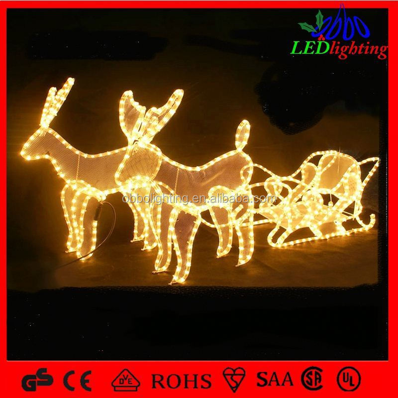 chinese garden decoration led 3d reindeer and sleigh motif light