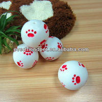 new pet products 2012--Everfriend 9.1cm white vinyl ball with red paw print