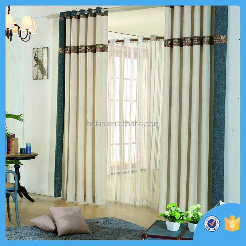 Fashion style ready made polyester jacquard window fabric curtain for living room
