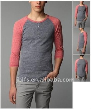 Men's 3/4 long sleeve henley T-SHIRT