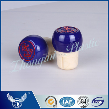 Goog quality high output blue cork stopper with metal cap for wine bottle