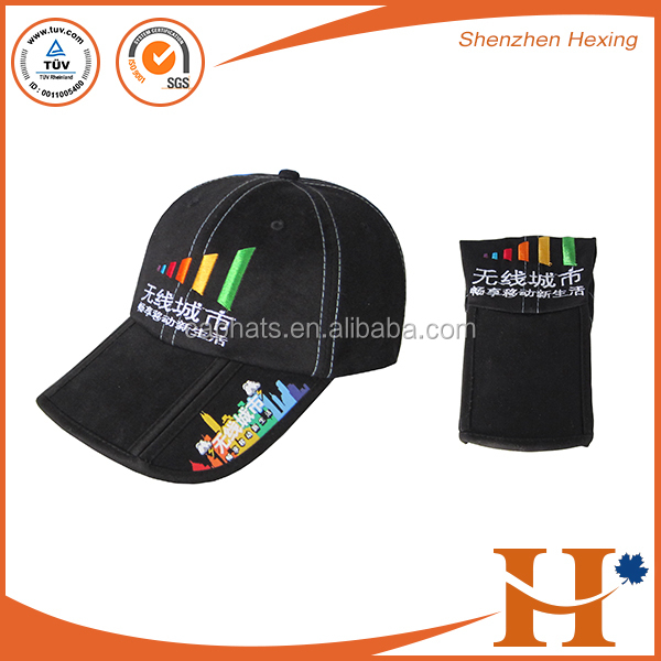 Custom design multi-panel or 6 panels foldable sun hats and fold brim cap