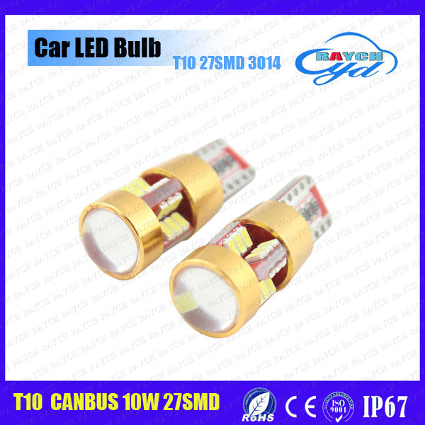 12v Wholesale 3014 LED 27smd t10 led canbus light car led auto bulb 194 strobe bulb led new w5w can bus load