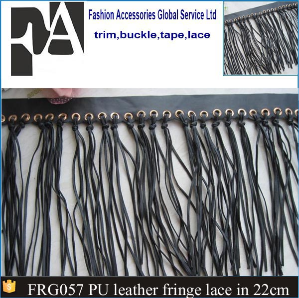 2016 Pu leather material curtain fringe trim black leather decorative tassels for curtain FRG057