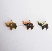 18K gold plated charm in 925 sterling silver 10mm cute animal elephant charm for earring necklace,bracelet