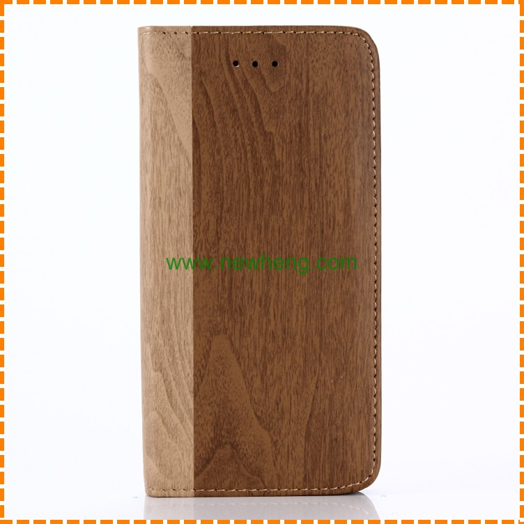 Hot selling Wooden Grain PU Leather Book Style Wallet Case For Iphone X