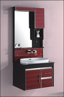 glass door with aluminum sealed design wall mounted pvc bathroom cabinet