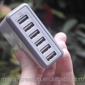 60W 10A 6 port Best Multiport USB Wall Charger