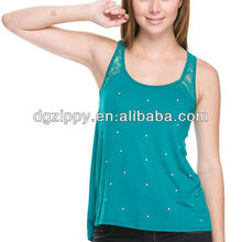 Sleeveless top/shirt with lace detail with opening back/Arabic sexy women clothing