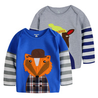Custom Manufacturing Children Boys Two Pieces T-shirt Applique Embroidery Cotton T-shirt