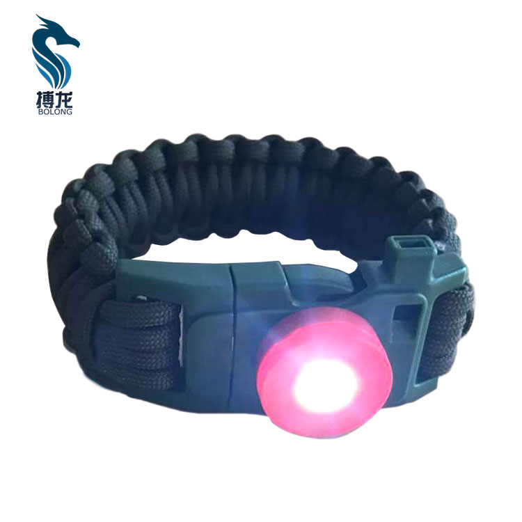 Survival Bracelet Gear Adjustable Paracord Bracelet With Waterproof LED Light SOS Signal Compass Fire Starter Scra