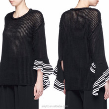Buy wholesales apparel direct from china flounced cuffs stitching cotton sweater