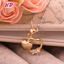 Latest Love Heart Design Saudi 18K Gold Jewelry Necklace For Girl