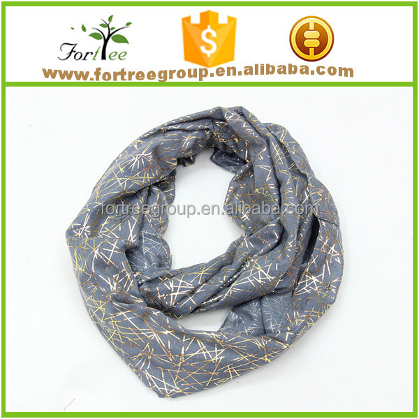 hot selling gold foil printing scarf for lady