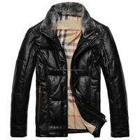 Real Sheepskin Leather Jacket Mens Down Coat Garment