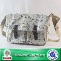 New style Saddle Bag, custom printed handbag with customer logo, PVC Coated Cotton with leather trims.
