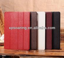 Four fold stand leather case for ipad 5, for ipad air leather pouch case