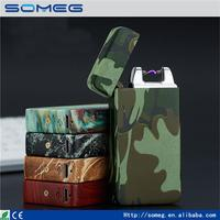 Latest windproof lighter USB charging pulse arc metal electronic camouflage cigarette lighter Environmental cigarette lighter