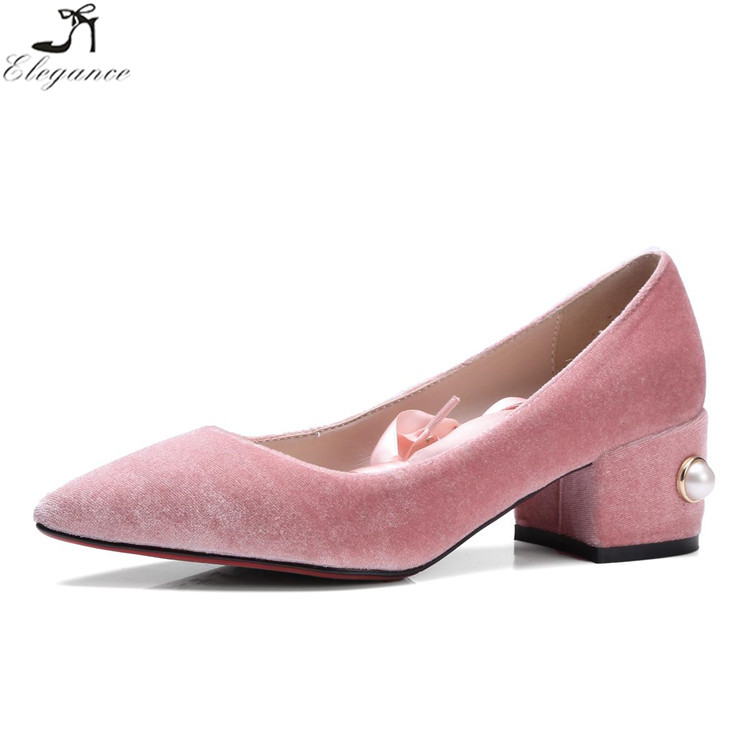 Fashion Pink Velvet Lady Pointed End Antiskid Cross Bandage Pear Short Heel Hot Drilling Casual Leisure Women Pumps Dress Shoes