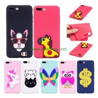 Newest design animal soft custom cute 3d silicone phone case for iphone 7