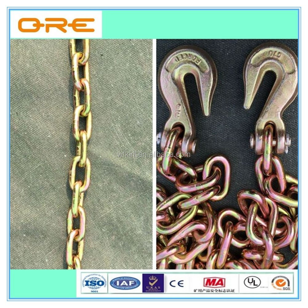 Welded US standard G43 lashing chain with hooks on both ends