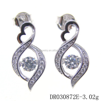 Silver 925 Earring Cubic Zirconia heart elegant jewelry dancing diamond Earring DR030872E